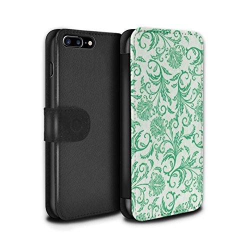 Stuff4 Coque/Etui/Housse Cuir PU Case/Cover pour Apple iPhone 7 Plus / Fleurs Vertes Design / Fleurs Collection Fleurs Vertes