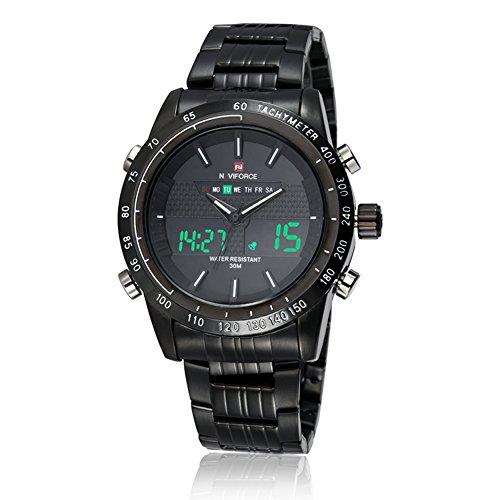 Neotrix-Luxus Naviforce - Edelstahl Analog und Digital-LED 30 m Wasserdicht Military-Armbanduhr für Extrem-Sport Herren Armbanduhr–Schwarz
