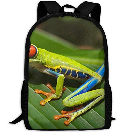 Red Eyed Tree Frog Unisex Adult Unique Rucksack,School Casual Sports Book Bags,Durable Oxford Outdoor College Laptop Computer Shoulder Bags,Lightweight Travel Tagesrucksäcke