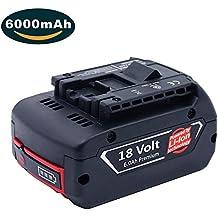 Dosctt 18V 6.0Ah Litio Taladro Reemplazo Batería para Bosch BAT609 BAT609G BAT618 BAT618G BAT619 BAT619G (Nueva Versión Con Indicador LED)