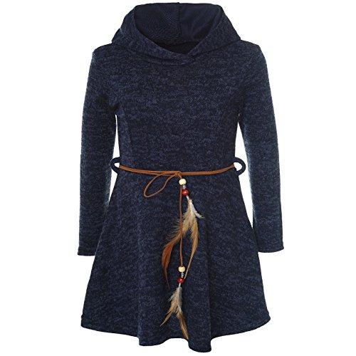 BEZLIT Mädchen Kleid Kostüm Kapuze Peticoat Festkleid Langarm 21578, Farbe:Blau, Größe:140