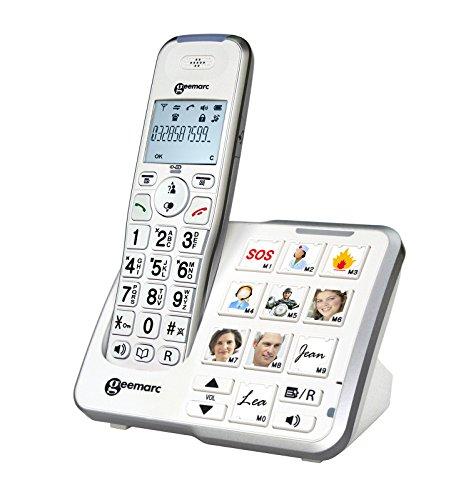 Geemarc DECT295PHOTO_WH_VDE AmpliDECT Großtastentelefon mit 10 Direktwahl-Fototasten und optischer Anrufanzeige an Basisstation, integrierter Anrufbeantworter, Deutsche Version