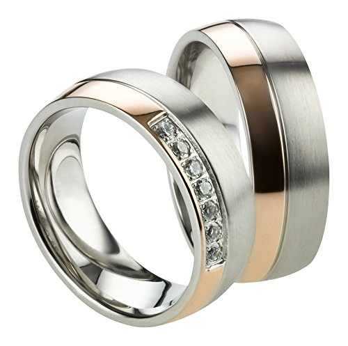 Trauringe Eheringe Verlobungsringe aus Edelstahl Bicolor Roségold mit Gratis Gravur