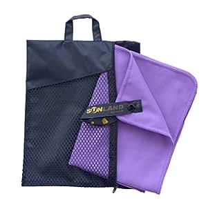 Sunland serviette microfibre compacte et Séchage Rapide serviette de plage,voyage,Sport et Camping lot de 2 violet 30 x 60 cm