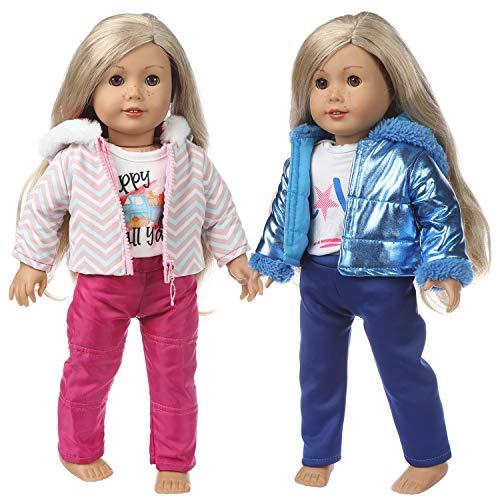 ZITA ELEMENT 2 Sets Winter Outfits Puppenkleidung Kleider für 40cm-46cm Puppen American 18 Zoll Girl Doll Kleidung der Winter Outfits, Unsere Generation Doll - 2 Daunenjacke + 2 Hosen + 2 Shirts
