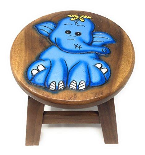 Agas Own Kinderhocker Holz Schemel Kinderstuhl Massivholz Bemalt und beschnitzt Höhe 25 cm (Zauber Elefant)