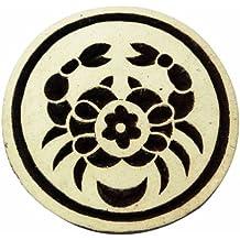 Rashi Símbolo de madera del bloque del cáncer de textiles firme sello de imprimir sobre tela Ronda