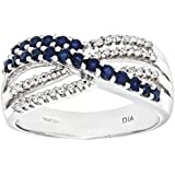 Naava 9ct White Gold Ladies Diamond and Sapphire Ring