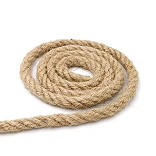 KINGLAKE 10mm Strong Hemp Rope, 10m 4 Ply Thick Garden Jute Rope String Art Craft Twine For Wrapping, Decoration, Garden Bundling