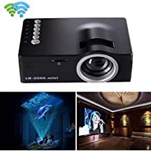 Tongshi 1080P HD LED Multimedia Home Centro de Cine VGA de TV USB y HDMI mini proyector(Negro)