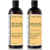 Jadole Naturals Organic Moroccan Argan Oil Hair Shampoo and Conditioner Treatment Set For All Hair Types - Safe for Color Treated Hair