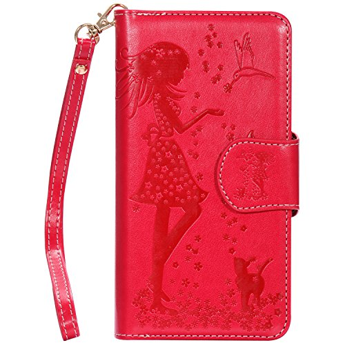Leder Girls Wallet (FNBK iPhone 7 Plus iPhone 8 Plus Hülle Leder Wallet 9 Kartenfächer Floral Girl C-Red)