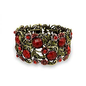 Bling Jewelry Red Simulated Garnet Crystal Garden Flower Cuff Bangle Bracelet Gold Plated