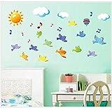 Himmel Vögel Sonne Ballon Wolke cartoon Wandaufkleber für Schlafzimmer kinderzimmer wohnzimmer Wohnkultur vinyl Kindergarten poster