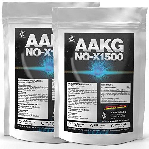 AAKG NOX-1500   1000 Kapseln (2x 500) a 500mg   Vorratspackung   Reines A-AKG Arginin-Alpha-Ketoglutarat   Nitro + Pre-Workout Booster   Für den Muskelaufbau und