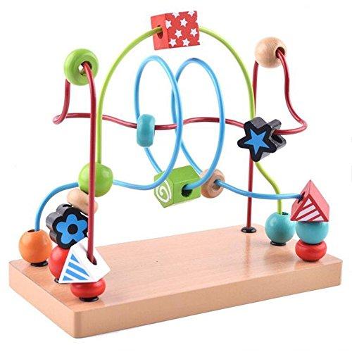 Vi.yo Bead Maze Achterbahn Bunte Kreis Abacus Holz Runde Perlen Zählen Spielzeug für Kinder Jungen Mädchen (Runde Perlen-roller)