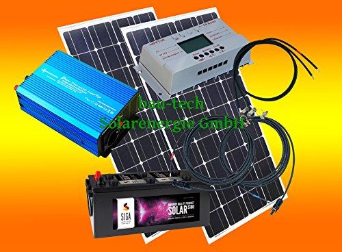 400 Watt Insel Solaranlage für Garten uvm. Komplettes Komfort SET inklusive Montagematerial für Flachdach