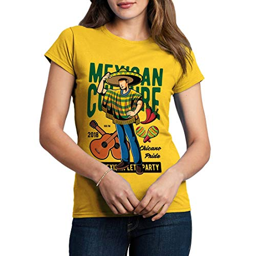 C394WCNTY Damen T-Shirt Mexican Retro Mexico Culture Day of The Dead Viva Fiestas Pinata Cuisine Tacos(Large,Yellow)