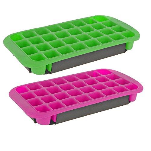 K7plus 2er Set Eiswürfelform Silikon stapelbar Eiswürfelbereiter 32 Jumbo Eiswürfel 800 ml