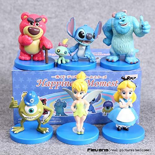 Yvonnezhang Monster Inc Mike Wazowski Sullivan Stich Alice Tinker Bell PVC Action-Figuren Sammeln Modell Spielzeug Puppen 6 Teile / Satz DSFG318