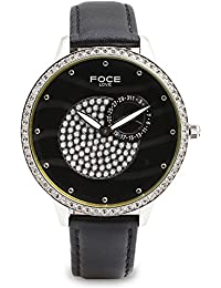 FOCE Analog Women's Premium Black Watch with Crystal Studded Dial & Case - F484LSL-BLACK