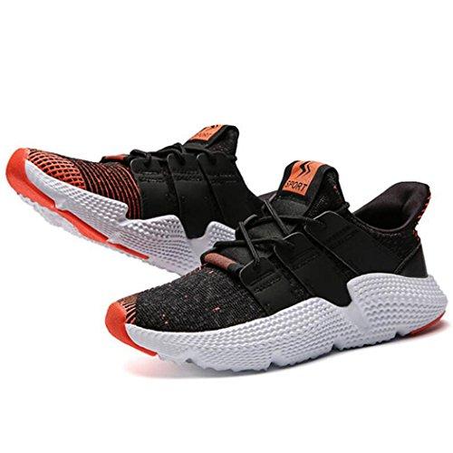GAOLIXIA Tela voladora de los hombres Zapatillas respirables Deportes de verano Zapatos casuales Zapatillas de deporte de marcha ligera Zapatillas de deporte atléticas que caminan al aire libre ( Color : Black red , tamaño : 42 )
