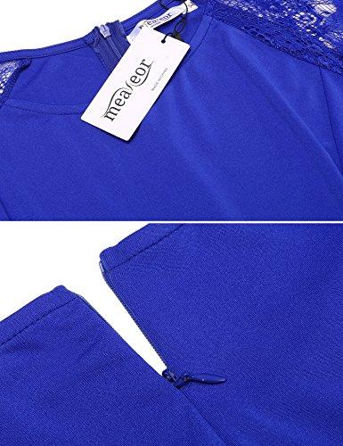 Meaneor Damen Kleid Große Größen Abendkleider Spitze 3/4 Arm Knielang Party Festlich Cocktailkleid Gr.XL-4XL Blau