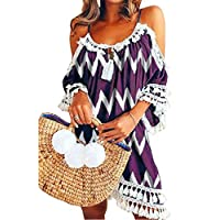 GRMO Women's With Tassles Halter Sexy Summer Cold Shoulder Party Mini Dress 6 4XS