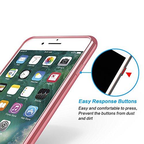 [2 Stück] OMOTON Schutzhülle für das iPhone 7 (4.7 zoll), [Air Cushion TPU][wackelt nicht][Anti-Kratz], transparente Hülle in rose gold rose gold