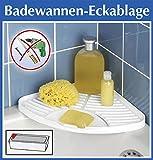 WENKO Badewannen-Eckablage weiß - OHNE Bohren - Bad Ablage für Dusche oder Badewanne - Duschablage - Badabalage - Badregal - Badewannenablage