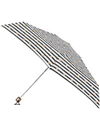 Totes Womens Compact Miniflat 5 Section Umbrella With A Stripe And Heart Print