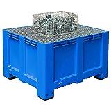 Abtropfbecken mit Gitterrost, Volumen 610 Liter, Material PE-HD, Farbe blau, LxBxH 1200 x 1000 x 760 mm