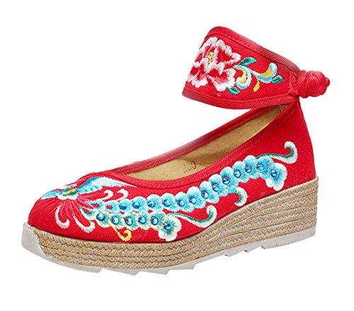 SK Studio Femme Fleuries Espadrilles Compensées Brodée Ballerines Mary Janes Traditionnelles Chaussures