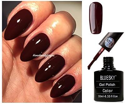 Bluesky A39 Ox Blood Red Burgundy Maroon Nail Gel Polish UV LED Soak Off 10ml PLUS 2 Luvlinail Shine Wipes