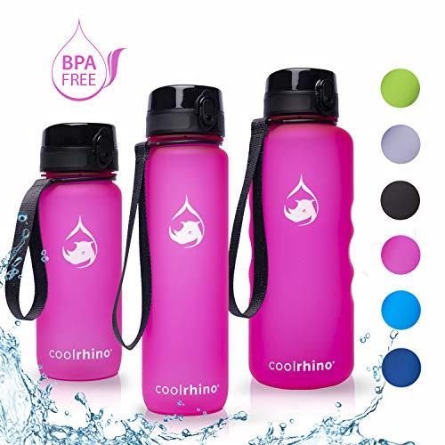 coolrhino Trinkflasche 650ml für Sport, Outdoor, Schule, Fitness & Kinder - Wasserflasche auslaufsicher und Bpa frei - Flasche für Kohlensäure geeignet (Rhino pink, 650ml)