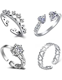 Om Jewells Silver Cubic Zirconia Rhodium Plating Como Of 4 Rings for Women