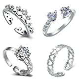 #9: Om Jewells Silver Cubic Zirconia Rhodium Plating Como Of 4 Rings for Women