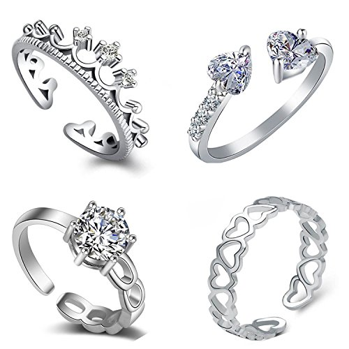 Om Jewells Silver Cubic Zirconia Rhodium Plating Como Of 4 Rings for...