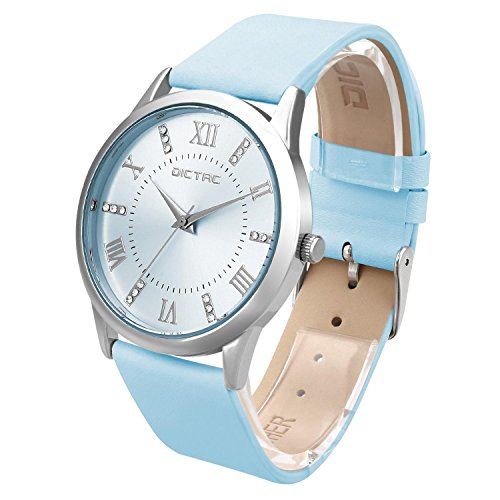 Dictac-Wristwatch-Lady-Analg-Quartz-Blue-Leather-Strap-98ft-Waterproof-Classic-Round-Watch