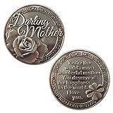 LUCKY COIN SENTIMENTAL GOOD LUCK COINS ENGRAVED MESSAGE KEEPSAKE GIFT SET CHARM (Dearest Mother)