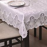 60x120 Rechteckig weiß Tischdecke mit Blumenmuster Blumenmotiv gipürenähnlich fleckenabweisend Lotus Effekt elegant praktisch außergewöhnlich klassisch 288