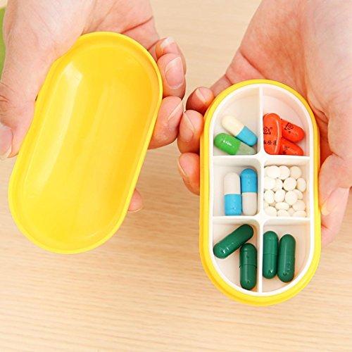 Lindames Kompakte Tablettenbox 6 Kammern, Pillen Tablettendose Pillendose Pillenbox Tablettenboxen Pillendosen Pillen Dose