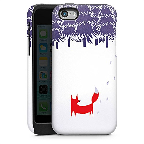 Apple iPhone 5s Housse Étui Protection Coque Forêt Renard Art Cas Tough brillant