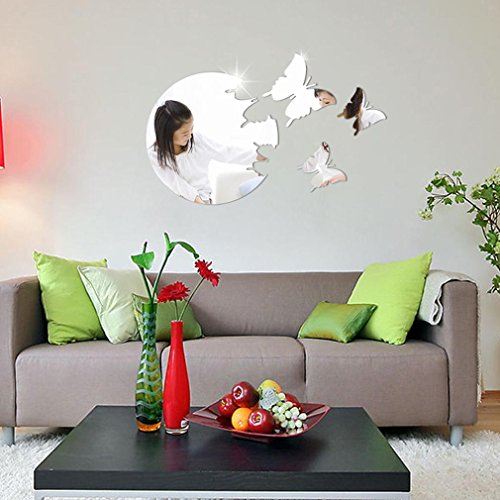 Momola Butterfly Circles Mirror Style Stickers Removable Art DIY Home Room Decor Wall Mural Decal Sticker Vinyl Wallpaper Interior Decoration (Silver)