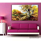 Tamatina Modern Art Canvas Painting - Sheeps Near The Tree - Paintings For Living Room - Paintings For Bedroom - Paintings For Drawing Room - Large Wall Painting For Living Room