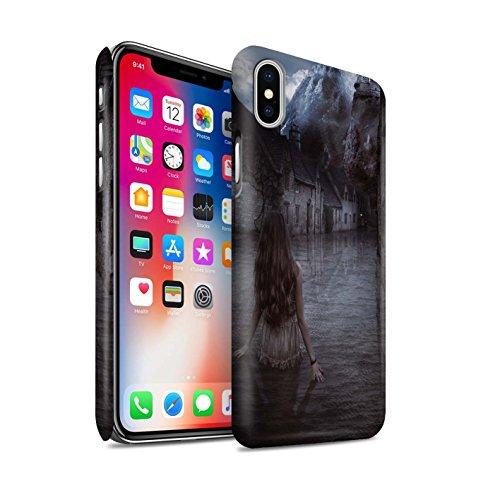 Officiel Elena Dudina Coque / Clipser Matte Etui pour Apple iPhone X/10 / Lagune de Montagne Design / Fantaisie Paysage Collection Rue Inondée