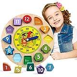 Unique Store Lernuhr Uhr-Spielzeug aus Holz Lernspiel aus Holz Kinderspielzeug Lernuhr Montessori Spielzeug mit Seil, Zahl und Tier Muster - Pädagogisches Lernen Spielzeug für Kinder ab 3 Jahren