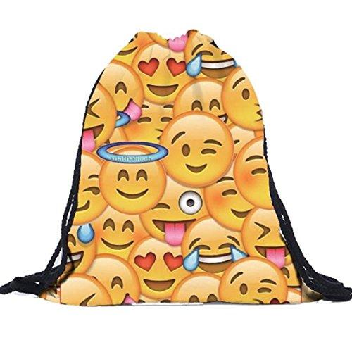 Vovotrade Unisexe Emoji Sacs à dos 3D impression Sacs à dos Drawstring A