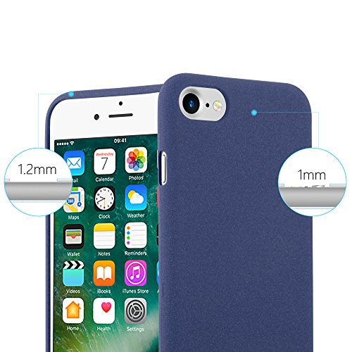 Cadorabo - TPU Frosted Matte Silikon Hülle für >             Apple iPhone 8 / 7 / 7S             < - Case Cover Schutz-Hülle Bumper in FROST-BORDAUX-LILA FROST-DUNKEL-BLAU