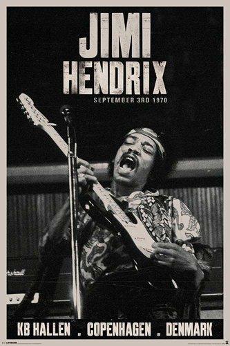 Poster Jimi Hendrix, Copenhagen + omaggio multicolore
